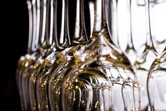 Wine glasses lined up. In the bar Stock Photography