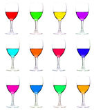Wine glasses with multicolor liquid Stock Photo