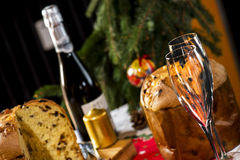 Wine Glasses and Panettone italian typical christmas cake Royalty Free Stock Image