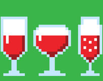 Wine glasses in pixel art style Stock Photo