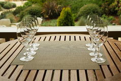 Wine glasses prepared for wine tasting Royalty Free Stock Image