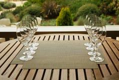 Wine glasses prepared for wine tasting Royalty Free Stock Image
