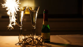Wine Glasses with Prosecco. And a Sparkler stock images