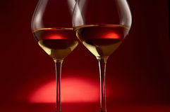 Wine glasses on red Royalty Free Stock Photography