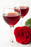 Wine glasses and red rose Stock Photography