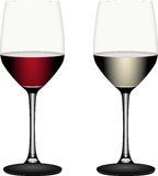 Wine glasses. With red and white wine vector illustration Stock Photography