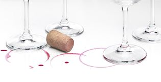 Remains of wine and glasses stock images