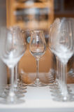 Wine glasses at restaurant Stock Images