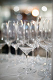 Wine glasses at restaurant Royalty Free Stock Images