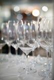 Wine glasses at restaurant. Nice bokeh Royalty Free Stock Images