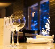 Wine glasses at restaurant royalty free stock photo