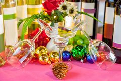 Wine glasses in a restaurant setting for christmas and newyear.  royalty free stock photography