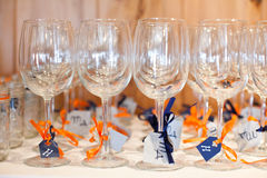 Wine glasses with ribbons Royalty Free Stock Photography