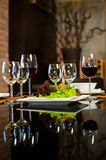 Wine Glasses & Romantic Dinner Royalty Free Stock Photo