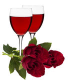Wine glasses. And rose flower on a white background Royalty Free Stock Image