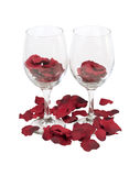 Wine Glasses with Rose Pedals Royalty Free Stock Images