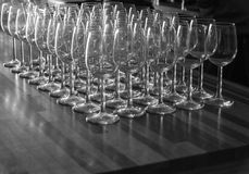 Wine glasses in a row stock photography