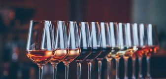 Wine glasses in a row. Buffet table celebration of wine tasting. Nightlife, celebration and entertainment concept. Horizontal, cold toned image, wide screen royalty free stock images