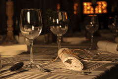 Wine glasses on served table in restaurant Royalty Free Stock Images