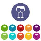 Wine glasses set icons Stock Photo