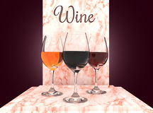 Wine glasses set. Wine glasses with three different types of beverage Royalty Free Stock Photos