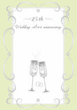 Wine glasses  for a silver wedding Royalty Free Stock Images