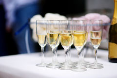 Wine glasses during some festive event Royalty Free Stock Image