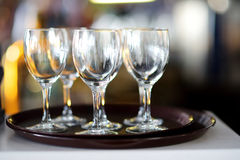 Wine glasses during some festive event Royalty Free Stock Photography