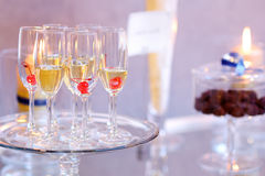 Wine glasses during some festive event Stock Image