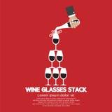 Wine Glasses Stack On Red Background stock illustration