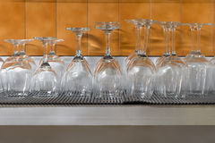 Wine glasses stacked to dry Royalty Free Stock Photos