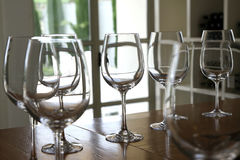 Wine glasses standing on the bar in the tasting room Stock Image