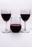 Wine and glasses stemmed stemless Stock Images