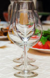 Wine glasses on a table Stock Images