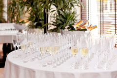 Wine glasses on table Royalty Free Stock Photo