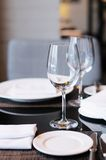 Wine glasses on a table Royalty Free Stock Image
