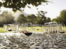 Wine glasses on the table. Stock Photography