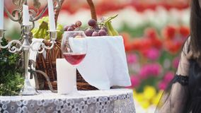 Wine glasses on the table stock footage
