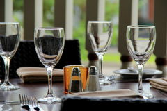 Wine glasses on a  table Royalty Free Stock Photos