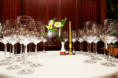 Wine glasses on table in restaurant Royalty Free Stock Photos