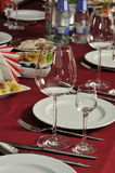 Wine glasses on a table at restaurant. Stock Photography
