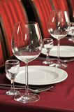Wine glasses on a table at restaurant. Royalty Free Stock Photos