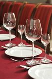 Wine glasses on a table at restaurant. Royalty Free Stock Photography
