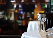 Wine glasses on a table in a restaurant Royalty Free Stock Photos
