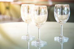 Wine glasses on a table. Royalty Free Stock Image