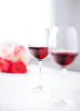 Wine glasses on the table in restaurant Stock Image