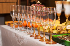 Wine glasses on the table Stock Images