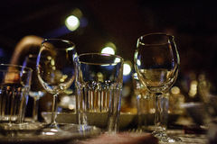 Wine glasses and table setting in restaurant Royalty Free Stock Photo