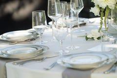 Wine glasses table setup Royalty Free Stock Image