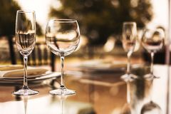 Wine glasses and table setup, wedding guest table, reception layout. Wine glasses mexico royalty free stock images